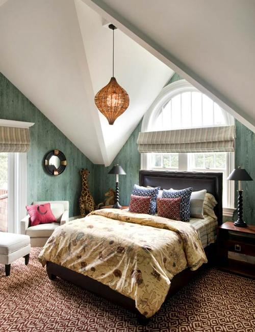 Attic Bedroom Design With Two Beds And Creative Wall Painting, Kids Room  Design