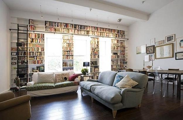 Built In Shelving Units Behind Living Room Furniture