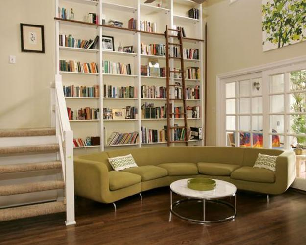 Elegant Space Saving Room Furniture Placement Ideas, Putting Bookcases And Shelves Behind  Sofas And Beds