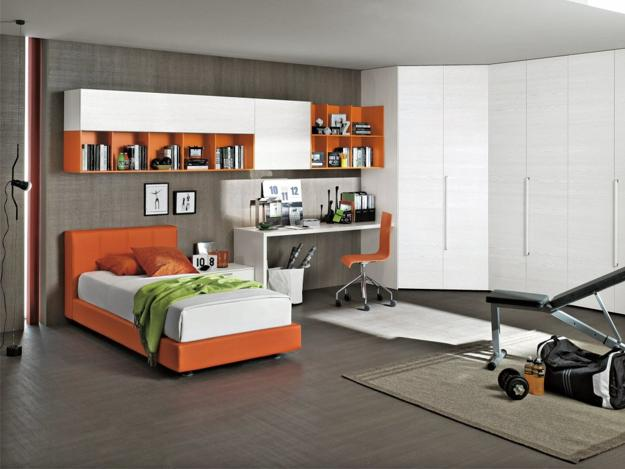 Modern Kids Room Design And Decorating In White And Orange Colors