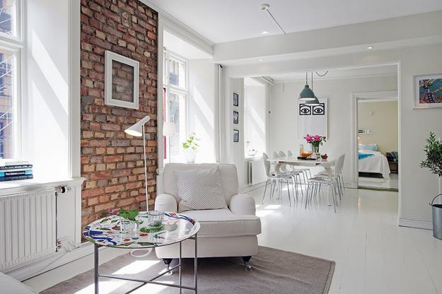 Modern Interior With Painted Brick Walls