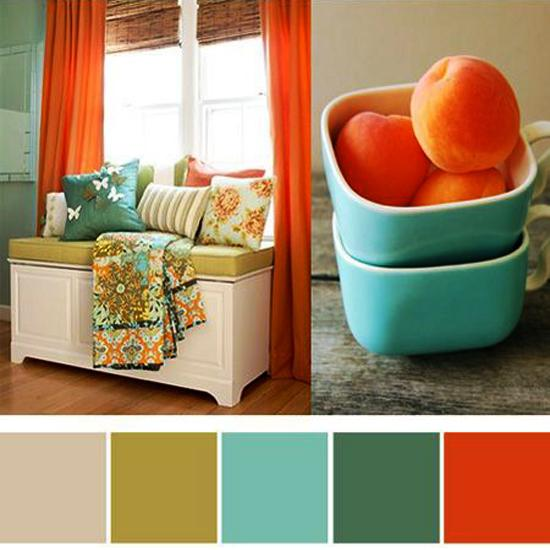 Turquoise Colors And Orange Color Shades Modern Interior Decorating Scheme With Blue Green