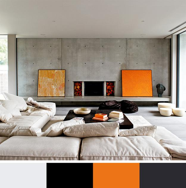 Orange Color With Black, Gray And Beige Neutral Colors