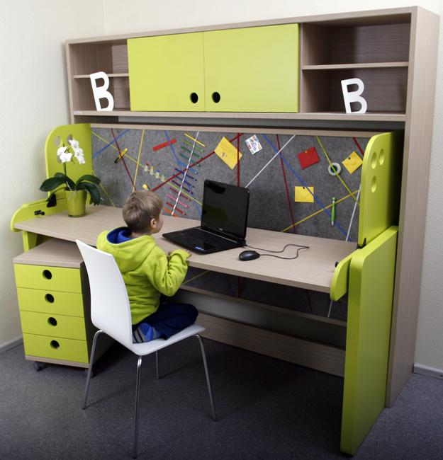 School Age Kids Room Design With Student Desks And Bright