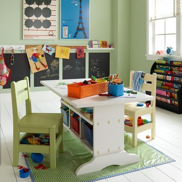 School Age Kids Room Design With Student Desks And Bright Decorating