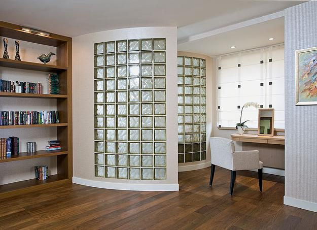 22 decorative and functional room dividers and partition - Glass block windows in living room ...