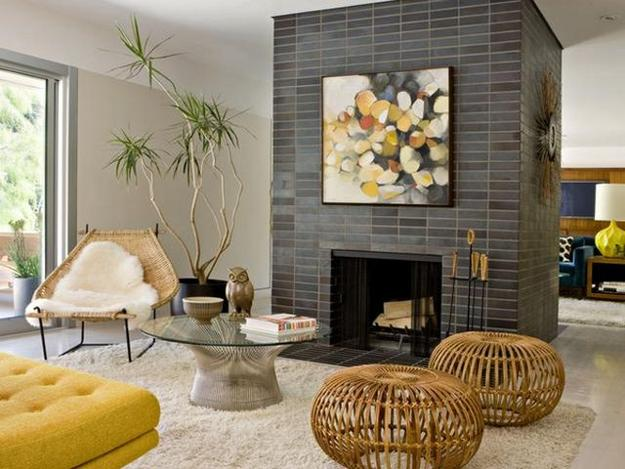 Modern Living Room Design With Stone Fireplace Rattan Ottomans Wicker Chair