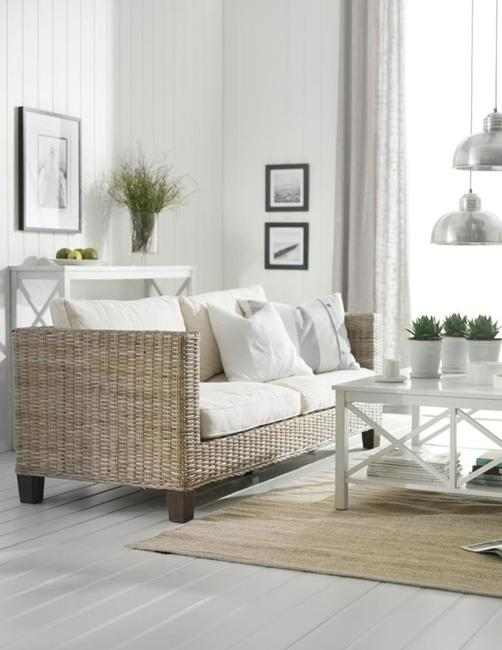 Modern Living Room Design With Wicker Furniture And Light Neutral Colors