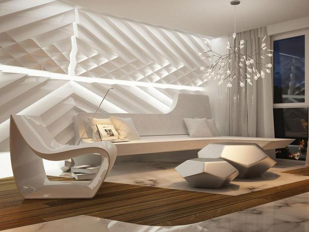 Contemporary Interior Design In Light Neutral Color Tones Beautiful Textures Effect Modern Lighting