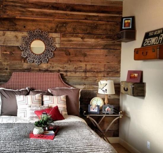 Bedroom Decorating With Wall Shelves Recycling Suitcases