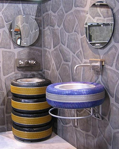 how to reuse and recycle bike wheels, rackets, used car tires and paddles for modern interior decorating
