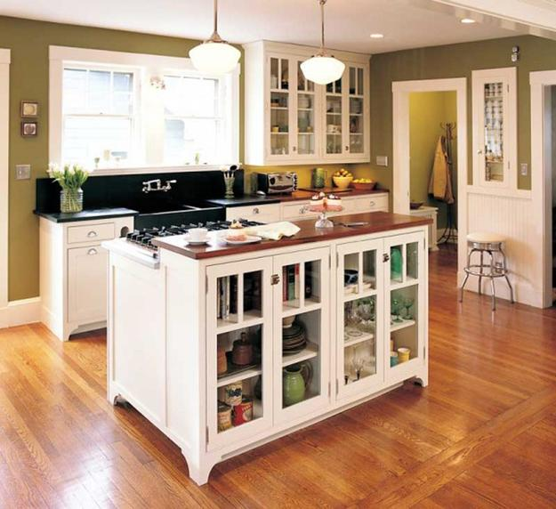 Kitchen Island With Storage Shelves And Glass Doors
