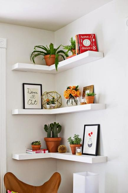 Corner Shelves Maximize Small Spaces And Create Balanced And Beautiful  Living Room Designs