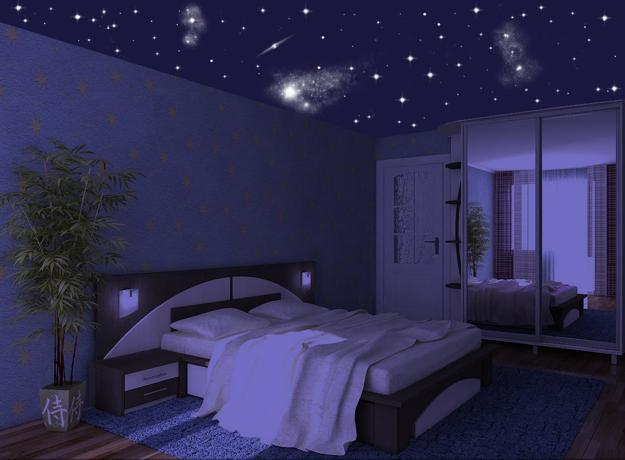 mysterious star ceiling designs made with stretch ceiling film and led lights. Black Bedroom Furniture Sets. Home Design Ideas