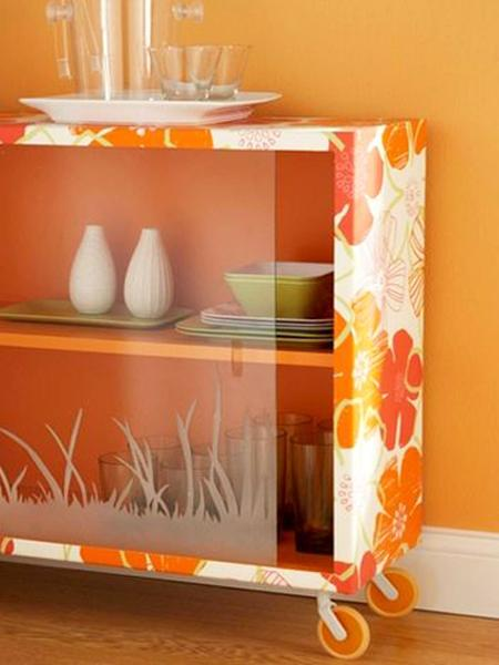 diy interior decorating with modern wallpaper, furniture redesign