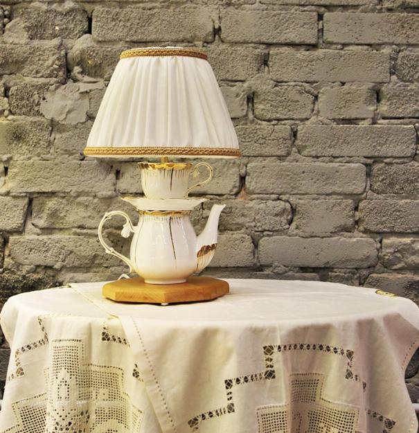 unique lighting fixtures made of teapots