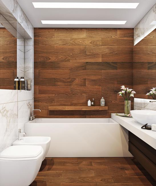 Modern Bathroom Design With Wooden Floor And Wall