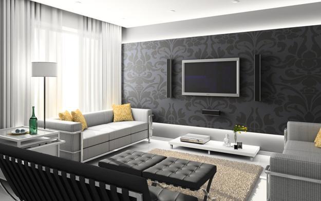 Modern Living Room Design With Wood Wallpaper