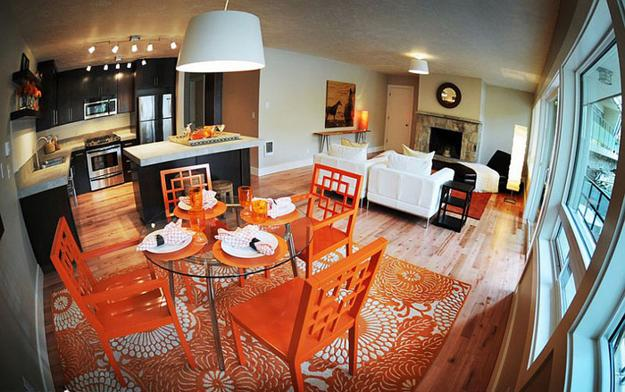 Orange And Blue Colors White Decorating Ideas For Modern Dining Room