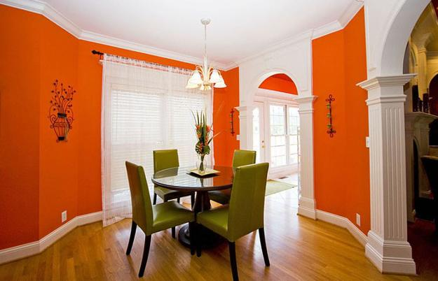 Modern Dining Room Decorating Ideas, Orange Paint Colors ...