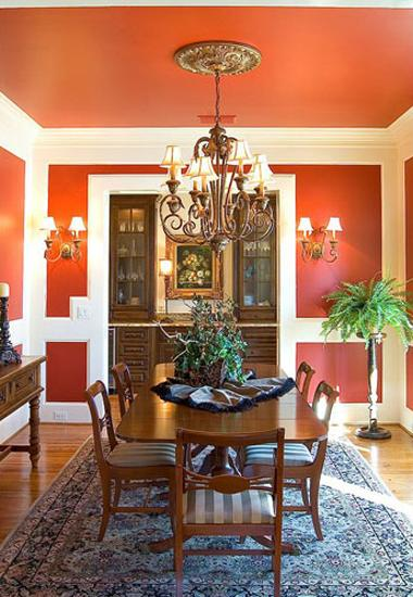 Modern Dining Room Decorating Ideas Orange Paint Colors