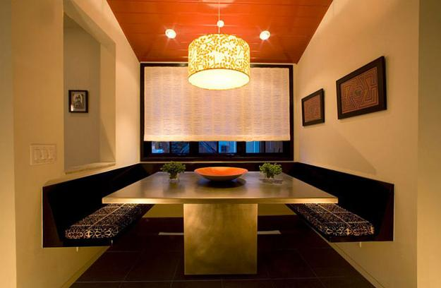 orange paint color living room with modern ceiling design | Modern Dining Room Decorating Ideas, Orange Paint Colors ...