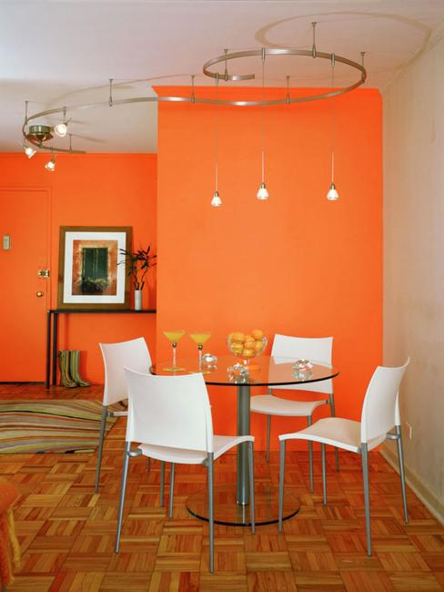 Elegant Bright Orange Paint Color For Dining Room Decorating With White Furniture