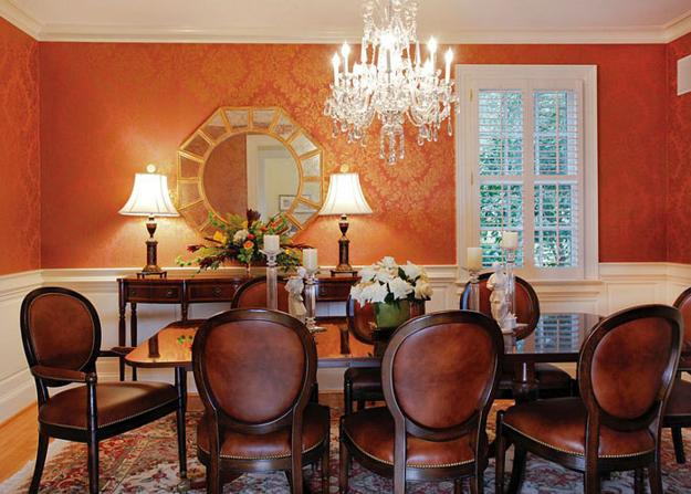 5 Beautiful Accent Wall Ideas To Spruce Up Your Home: Modern Dining Room Decorating Ideas, Orange Paint Colors