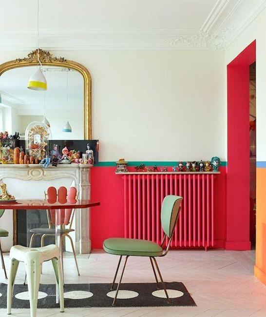 Painting Interior Tips: Modern Interior Decorating With Colorful Radiators And