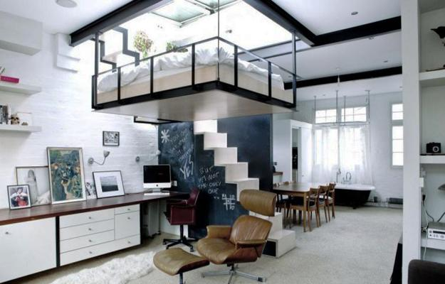 Space Saving Interior Design Ideas, Contemporary Interior With Loft  Bedroom, Home Office, Bathtub, And Dining Area