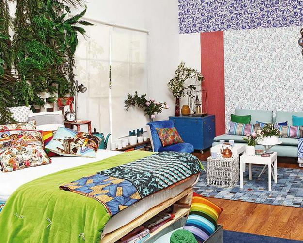 bright room colors and modern interior decorating in boho chic style