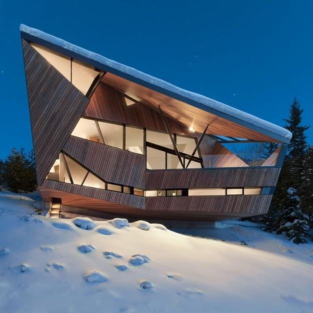 Architectural Designs For Modern Houses: Metal, Glass And Wood Homes In Snow, Modern House Designs