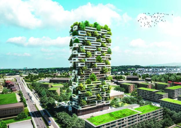 Green Building, Residential Tower of the Cedars Covered in Vertical ...
