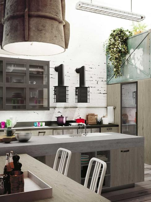 Modern Kitchen Cabinets With Handles In Industrial Style