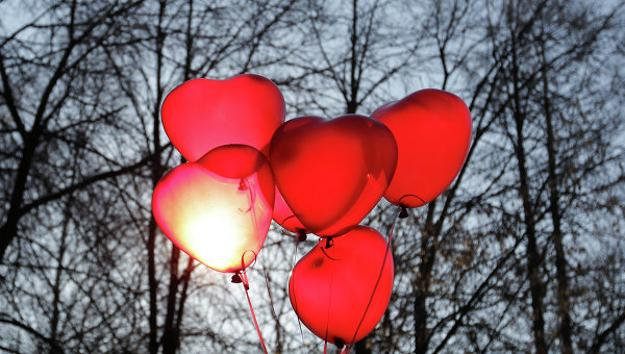 balloons in pink red and purple colors for valentines day decorating