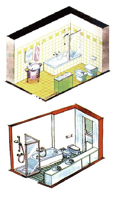 layout plans for modern bathroom remodeling and redesign