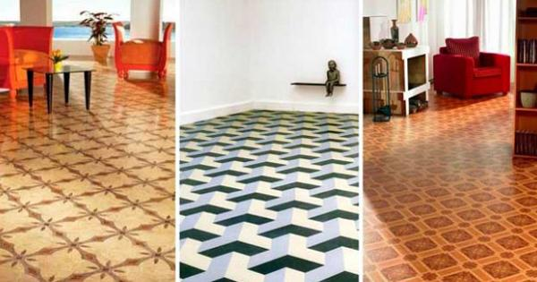 Contemporary Kitchen Floor Colorful Checks Pattern