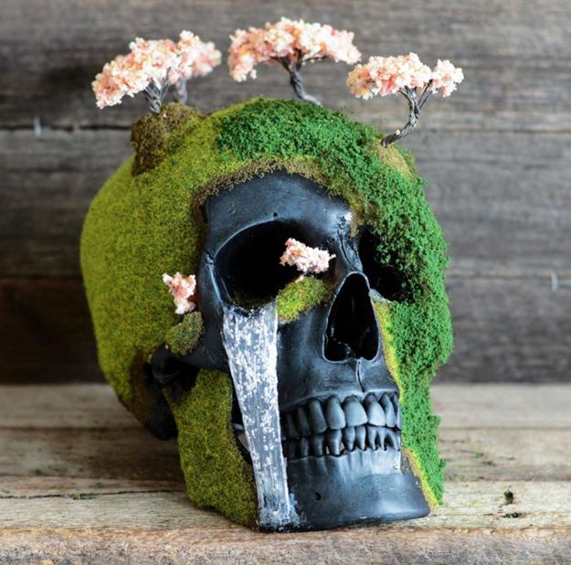 human skulls with moss and bonsai trees