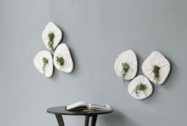 Unique Wall Decorating Ideas Creating Visual Effect With Concrete Planters And House Plants