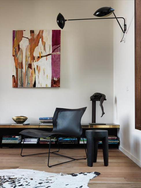 modern interiors with large wall decorations