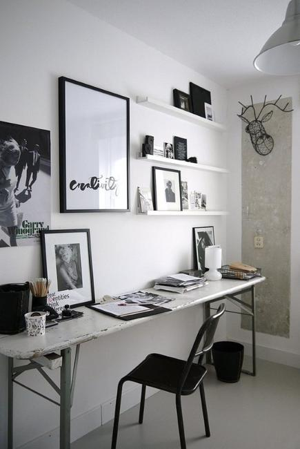 Black n White Decorating with Color for Home Office Designs ... on white modern office design, white home office modular furniture, white home office cabinets, white small office design, white home office bookcase, white home office ideas, white home office built ins,