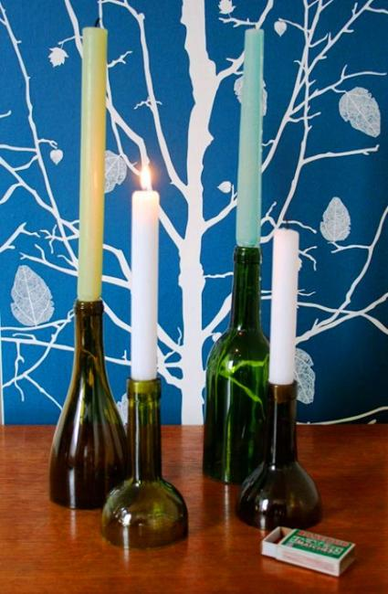 Recycling Glass Bottles For Candles Centerpieces And Table Decorations