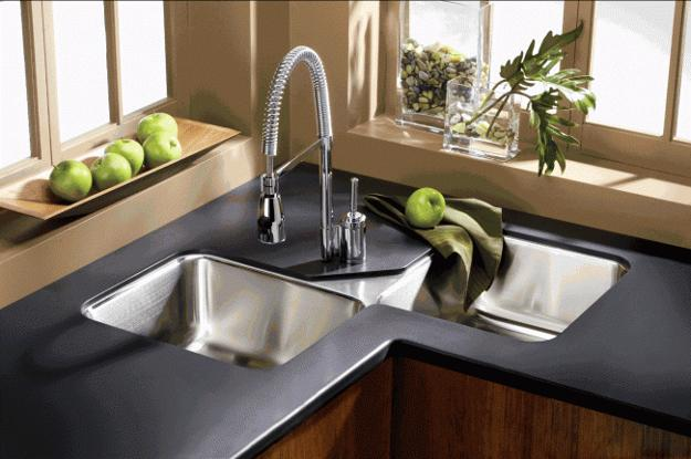 Modern Kitchens With Space Saving And Ergonomic Corner Sinks