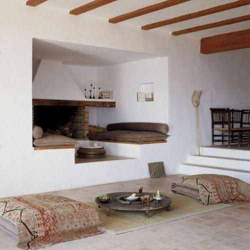 Cozy Seating Area With Simple Fireplace Design And Built In Walls Benches Soft Cushions