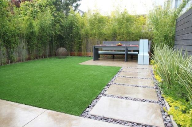 Modern garden design with elegantly simple walkway made with gravel and concrete slabs & 25 Great Ideas for Romantic Garden Design with Beautiful Walkways