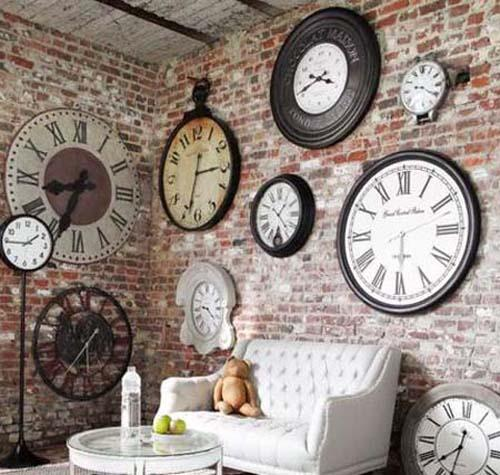 History And Originality Exposed Brick Wall Decoration With Vintage Clocks Modern Interior Design