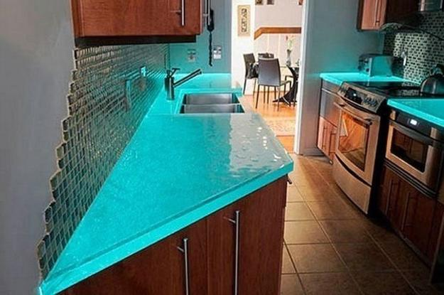 Modern Glass Kitchen Countertop Ideas, Latest Trends in ... on Modern Kitchen Countertop Decor  id=88499
