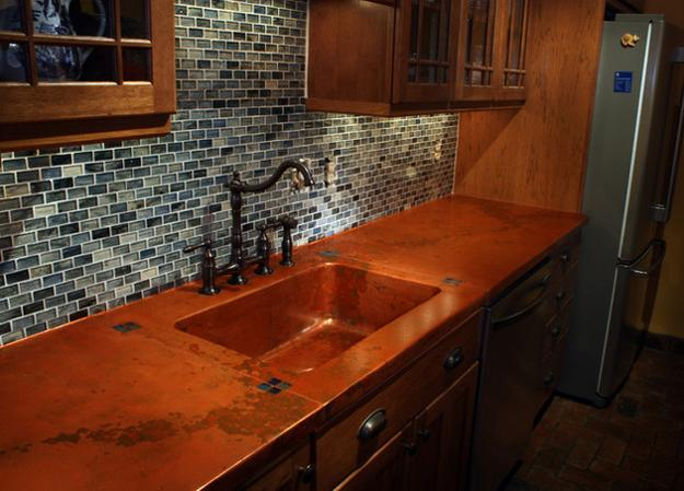 Metal Accents In Modern Kitchen Design, Wooden Cabinets And Kitchen  Countertop Ideas
