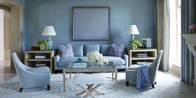 Blue Colors, Modern Living Room Design And Decorating Ideas