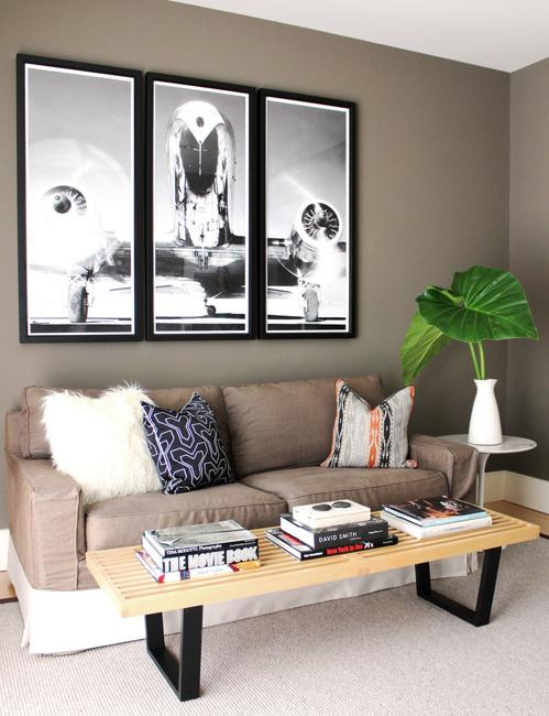 small wall decorations grouped for creating focal points for modern interior design